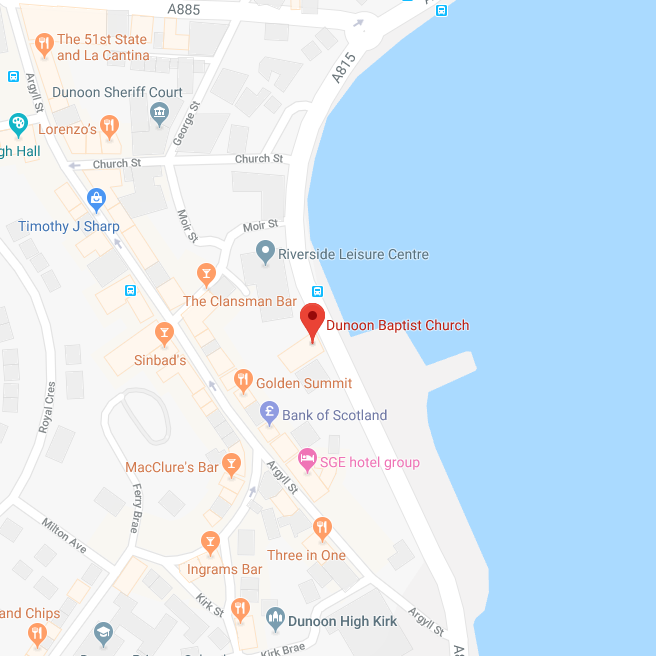 A digital map showing Dunoon Baptist Church